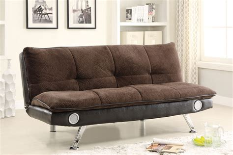 futon with speakers brown futon with built in bluetooth speakers 500047 at