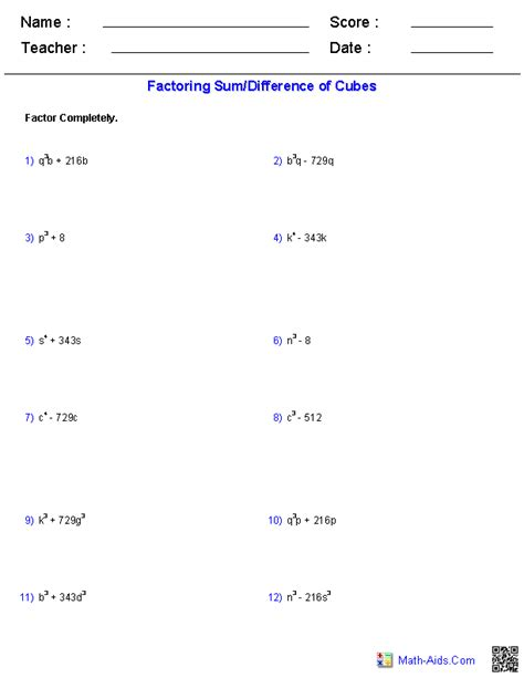 Sum And Difference Of Cubes Worksheet algebra 2 worksheets polynomial functions worksheets