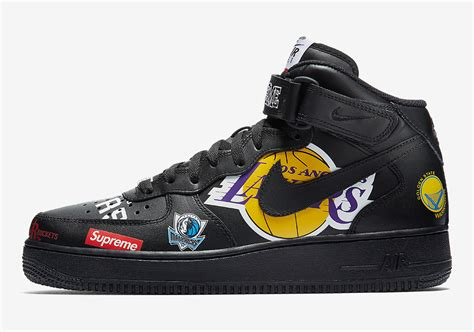 Supreme Nike Air 1 by Supreme Nike Air 1 Mid Black Nba Logos Aq8017 001