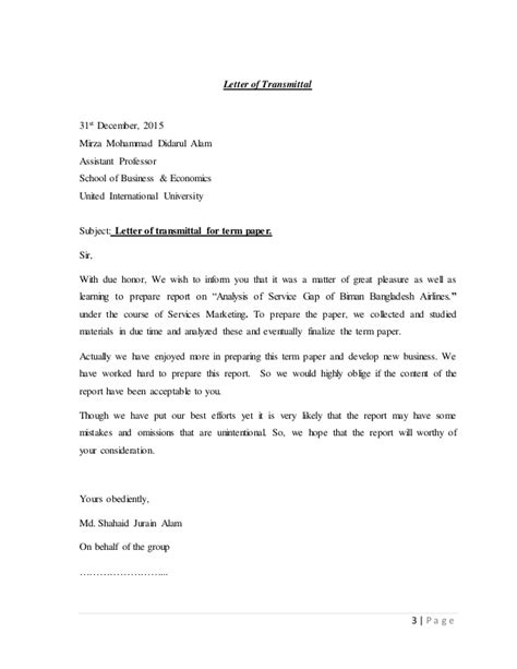 Service Gap Letter Analysis The Service Gap Of Biman Bangladdesh Airlines