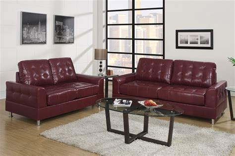 red leather sofa and loveseat poundex naomi f7562 red leather sofa and loveseat set