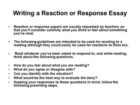 steps in writing a reaction paper responsive critical writing ppt