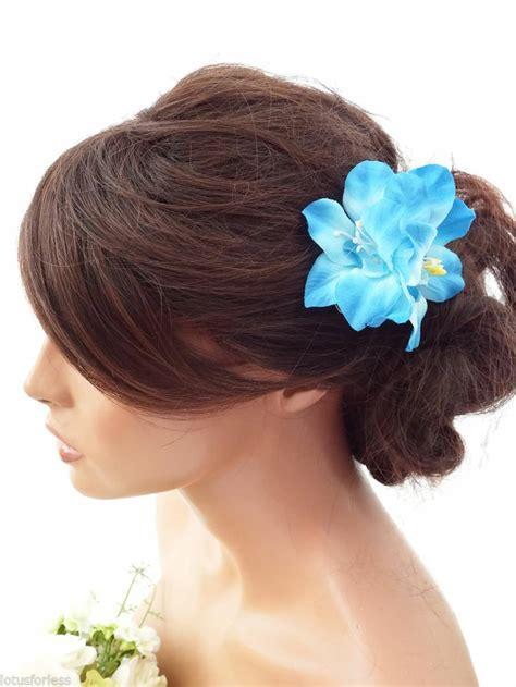 Orchid Hair Clip Sky Blue pretty blue flower hair clip grip fascinator races
