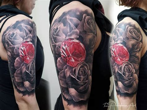 rose with diamond tattoo lotus flower and angry tiger on sleeve by pxa