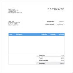 bill estimate template blank estimate template 23 free word pdf excel