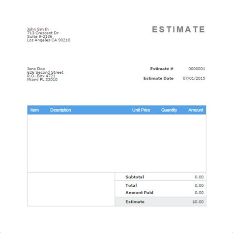 Blank Estimate Template 23 Free Word Pdf Excel Google Sheets Odt Format Download Free Quote Invoice Template