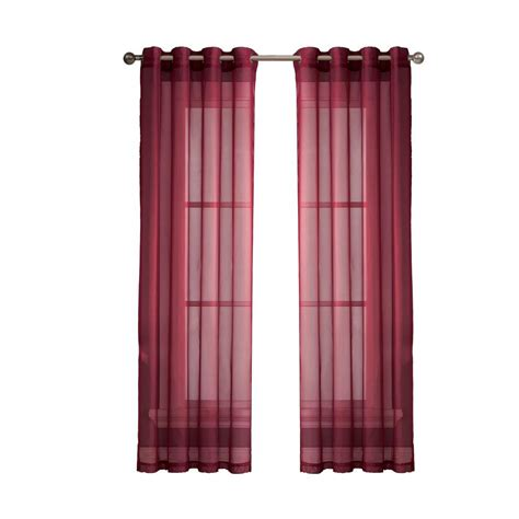 curtains 56 length window elements diamond sheer voile burgundy grommet extra