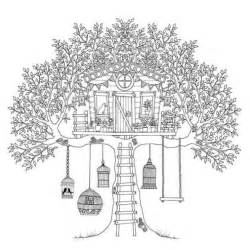 coloring page of a tree house collections
