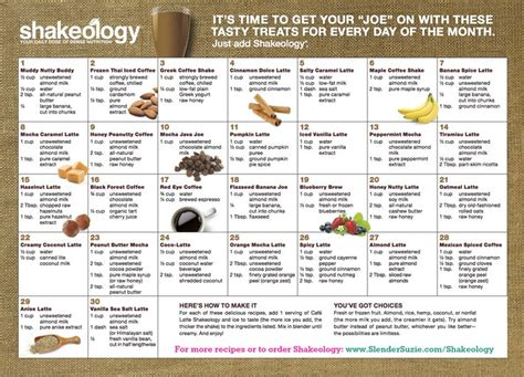 printable shakeology recipes shakeology vs dining out shakeology calendar and latte