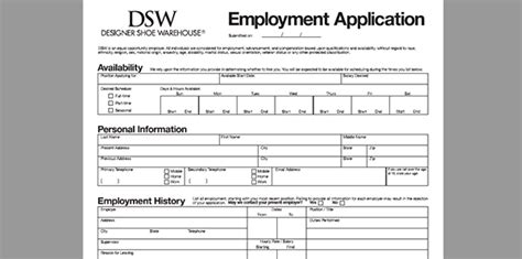 Dsw Application Process Dsw Application Adobe Pdf Apply