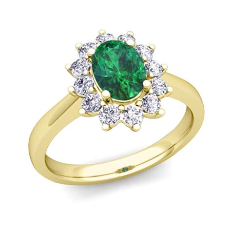 brilliant and emerald diana engagement ring in 18k