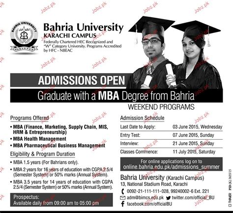 Mba Admission Requirements In Karachi by Bahria Karachi Admission In Mba 2018 Government