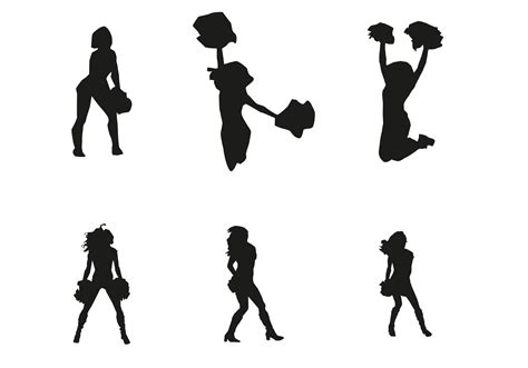 silhouette vector vector cheerleader silhouettes download free vector art