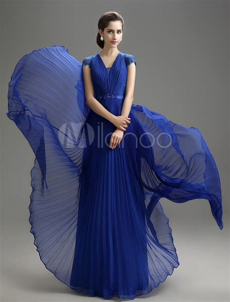 Blouse Rub 204 royal blue v neck chiffon of the dress