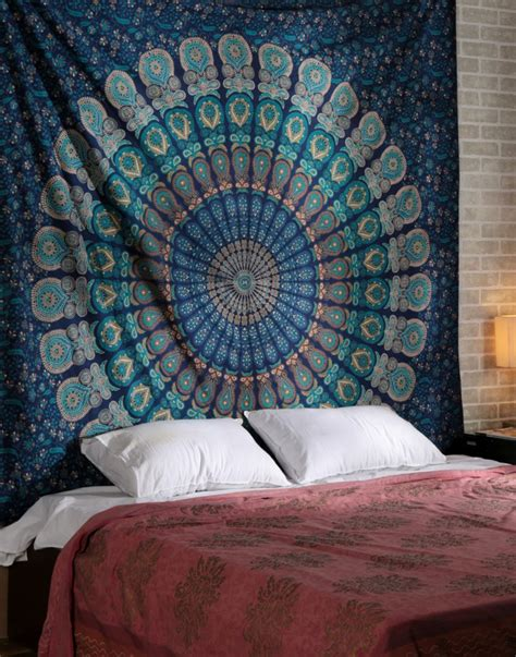 blue hippie floral mandala tapestry bedspread bed cover blue tapestry indian tapestry bohemian tapestry