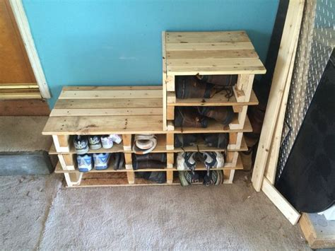 garage shoe storage bench garage shoe rack bench made out of 2 wood pallets done