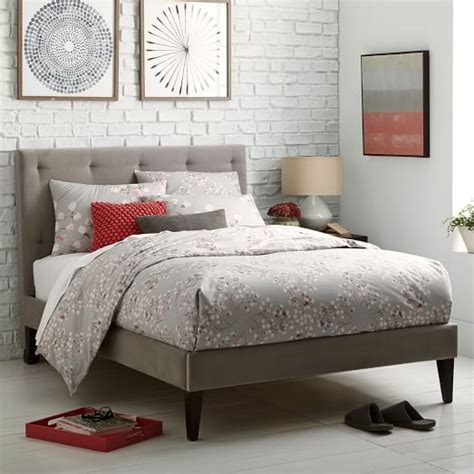 narrow headboard narrow leg upholstered bed frame dove gray west elm