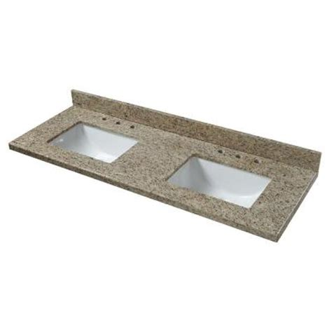 double bowl vanity tops for bathrooms home decorators collection 61 in granite double bowl vanity top in giallo ornamental