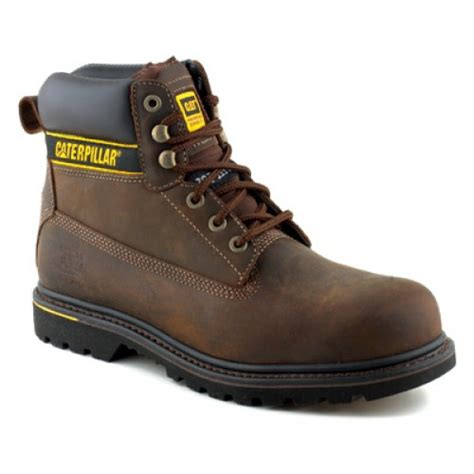 cat holton brown safety boots with steel toe cap midsole