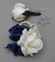 Blue Corsages For Prom White Navy Real Touch Rose Wedding Boutonniere Amp Wedding