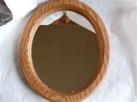 Handmade Mirror - oak wood oval mirror handmade