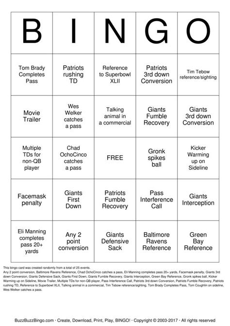 Bowling Bingo Card Template by Bowl Xlvi Bingo Cards To Print And Customize