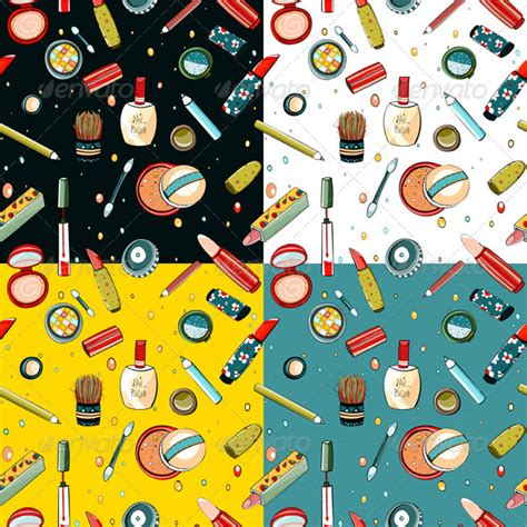 makeup pattern vector colorful makeup seamless pattern graphicriver