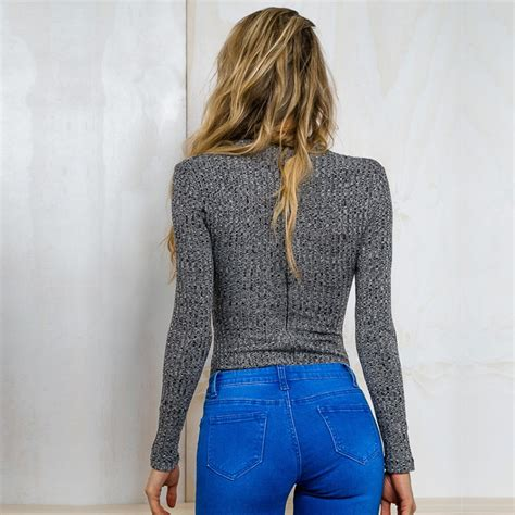 Conventional Knit Cardigan 2018 autumn new arrival occident s fashion tight elastic knitting sweater cross v