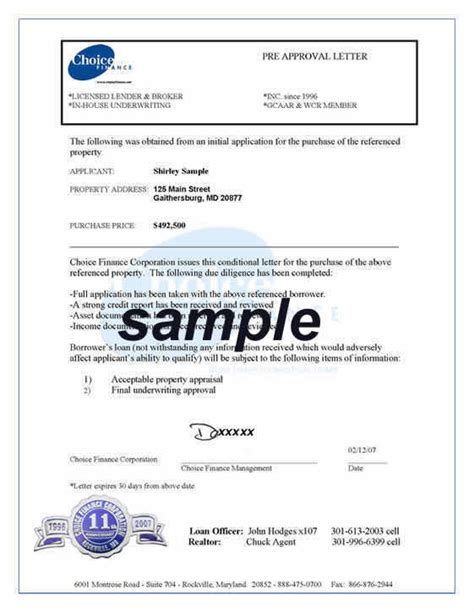 Finance Approval Letter Template Pre Approval Letter Maryland Va Dc Home Loan Commitment