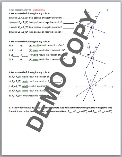 Geometry G Rotations Worksheet 1 by High School Geometry Common G Co A 5 Sequences Of