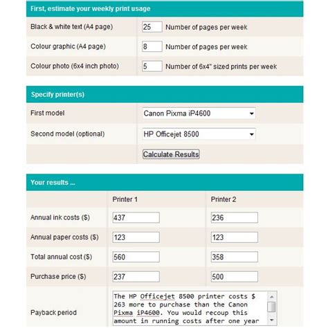 simple screenshot moderate usage printer costs calculator