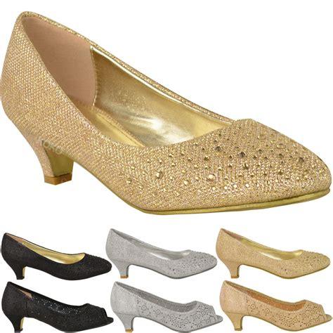womens low kitten heels court shoes open toe