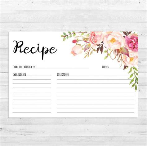 recipe card template boho recipe cards bridal shower boho recipe card watercolor