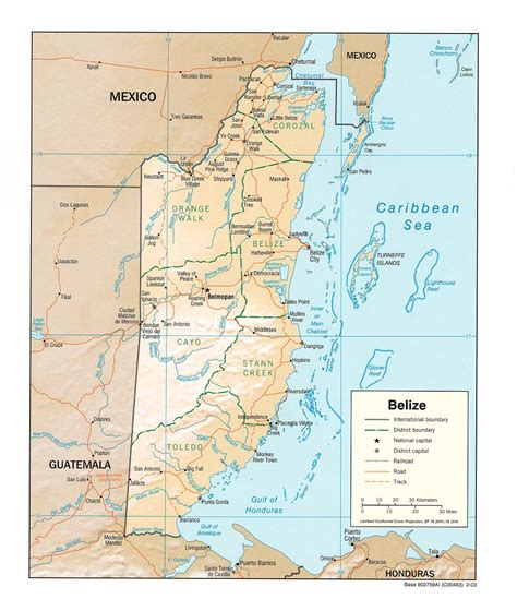 tourist map of belize belize map free maps of belize and central america