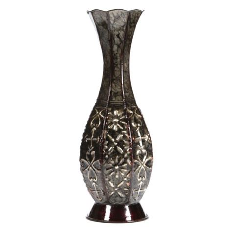floor vase hosley metal 14 inch high for dried floral