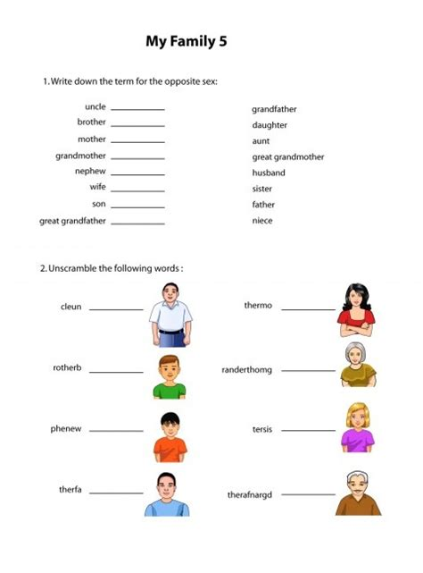 Family Worksheets In by Family Members Kididu