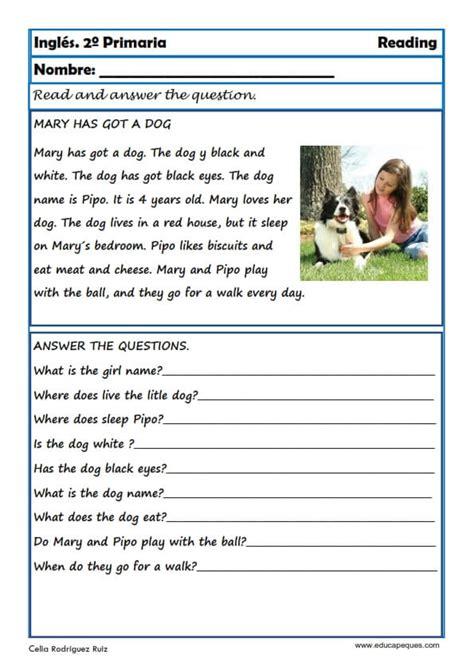preguntas en ingles de la vida cotidiana fichas de ingl 233 s segundo primaria reading writting