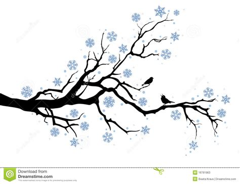 winter tree from snowflakes by the vector colourbox winter tree branch stock vector illustration of branch 16791963
