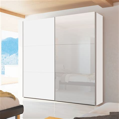 White Gloss Wardrobes With Sliding Doors by Loft Two Door Sliding Wardrobe White Gloss With Mirror Dwell