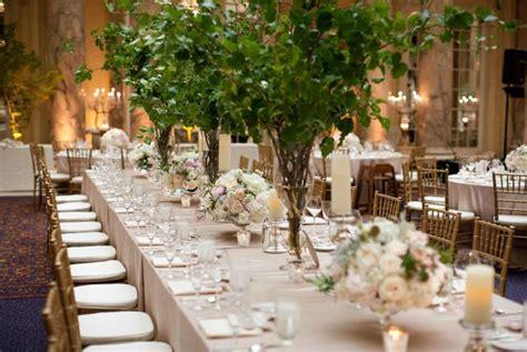 Indoor High Centerpieces For Wedding Using Greenery High Centerpieces For Weddings