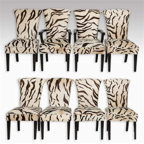 set of eight zebra skin dining room chairs