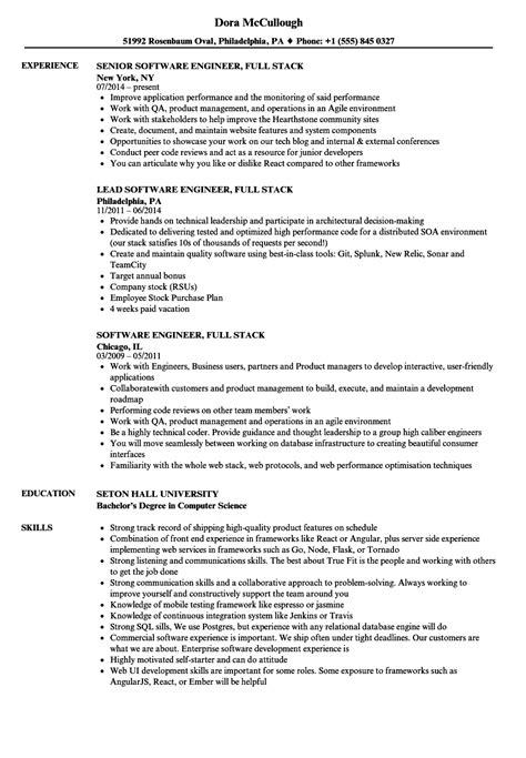 software engineer stack resume sles velvet