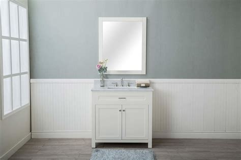 white shaker 36 quot bathroom vanity w marble top