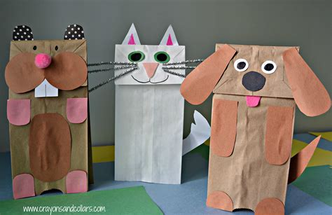 Puppet With Paper Bag - crayons and collars with and pets easy paper