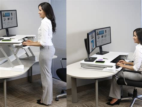 stand to sit desk ergotron workfit t sit stand desktop workstation radius