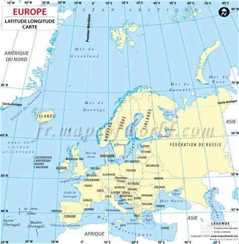 france latitude carte latitude et longitude de pays europ 233 ens