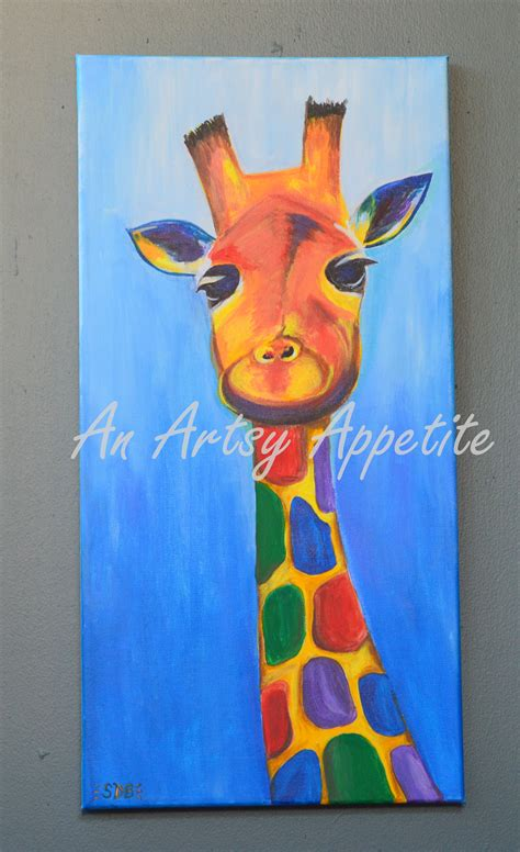 colorful baby colorful baby giraffe acrylic canvas painting an artsy