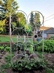 Trellis Beans Garden Trellis From Old Bike Tires Diy Projects For