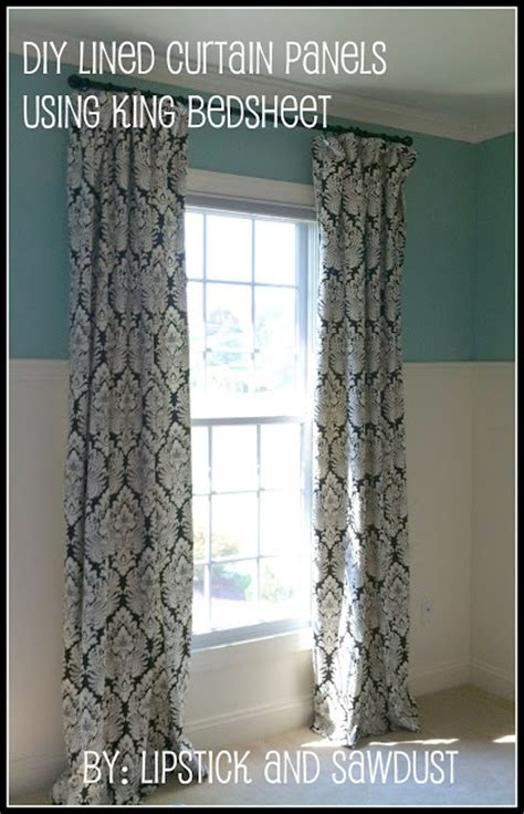 Lined Curtains Diy Inspiration Lipstick And Sawdust Diy Curtain Panels Using Bedsheets
