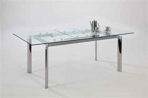 contemporary glass dining table contemporary clear glass and chrome extendable dining